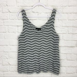 Fate Knit Chevron Perforated Oversized Tank Top S